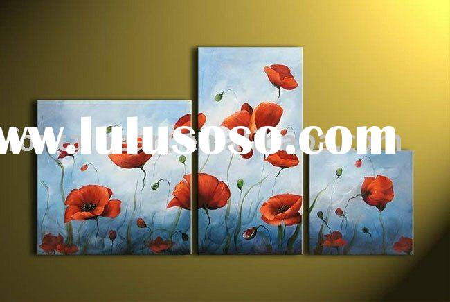 Handmade Decoration Group Oil painting,Poppy (3 panels)