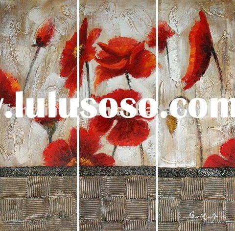 Handmade Red Floral oil painting,decoration wall hanging (3 panels)