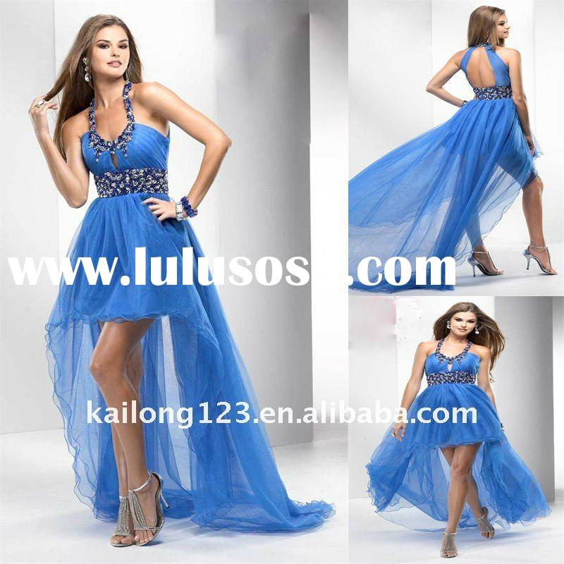 High-Low Sweep train Beaded Ruched Halter Prom Dress