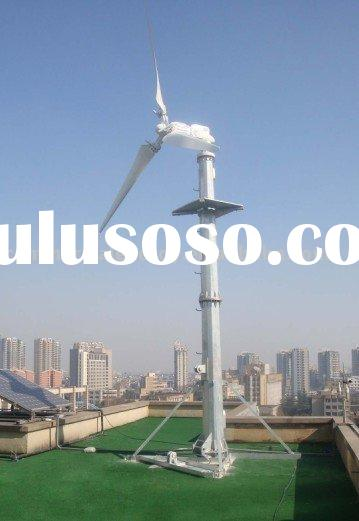 Horizontal Axis Wind Power Generator On Roof