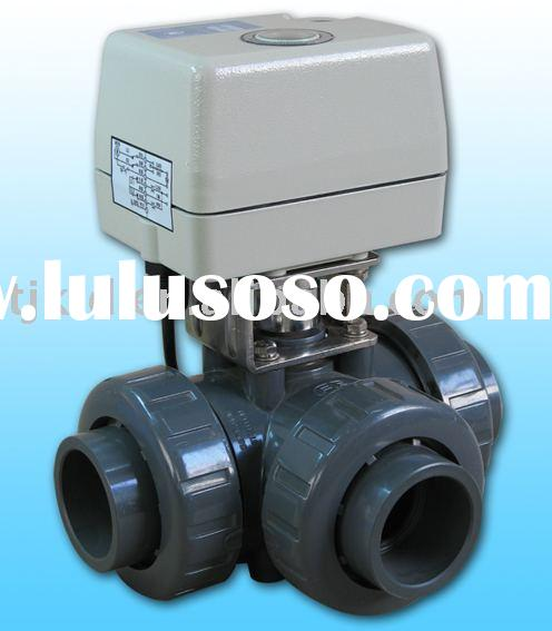 KLD400 3-way electric Ball Valve(upvc) for automatic control,water treatment, process control, indus