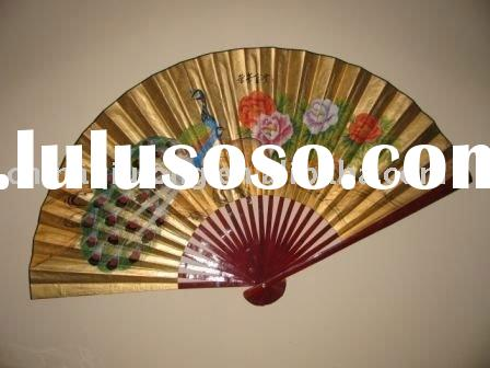 Large Decorative Hand Painted Asian Wall Fan