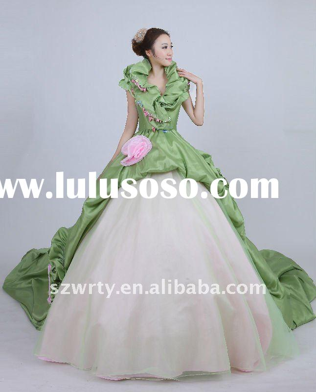 Lime green wedding dresses two tone halter ruffles green 20001