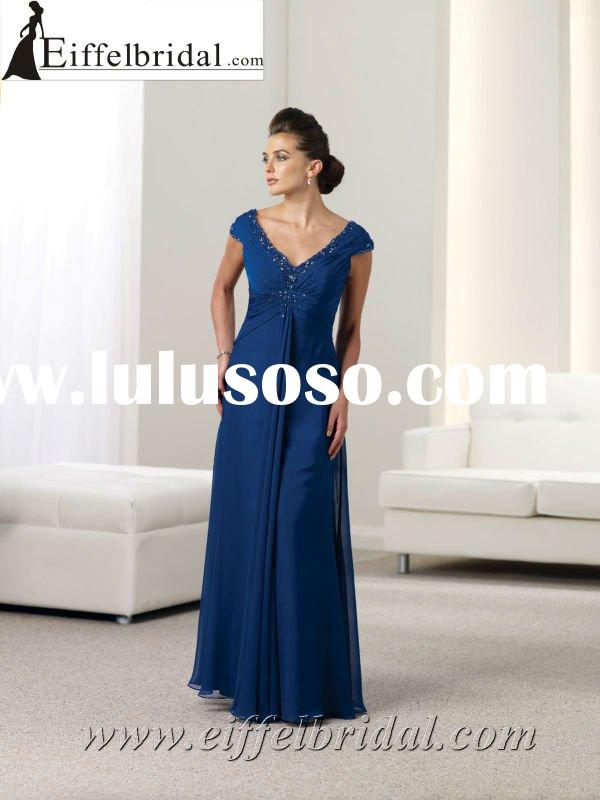 MON-112911 Cap-sleeves V neck empire floor length navy blue chiffon mother of bride/bridegroom dress