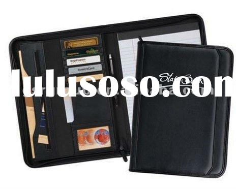 Managers' File Folder with Card Holder and Zipper Pouch