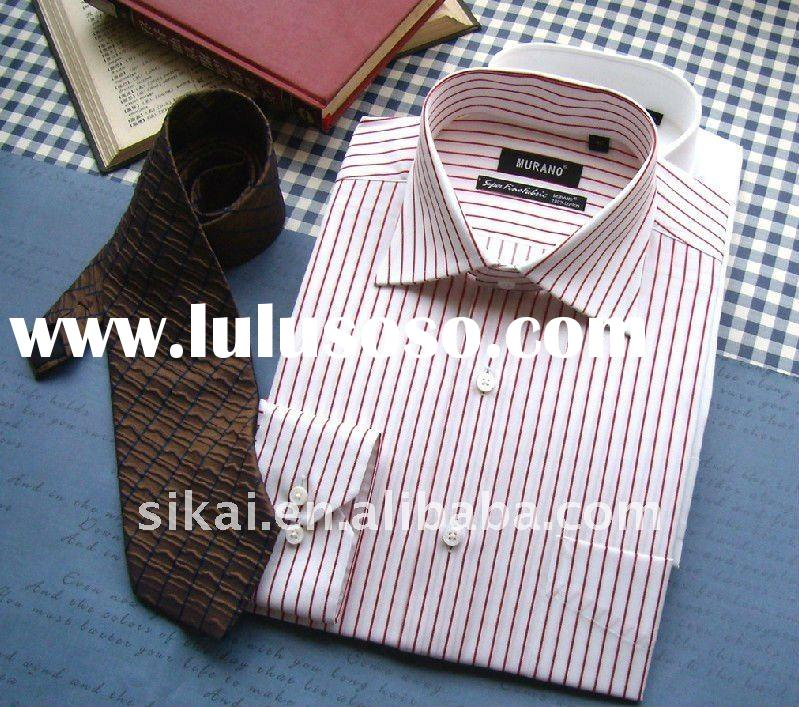 Men's classic business dress 100% cotton long sleeve pin stripe shirt