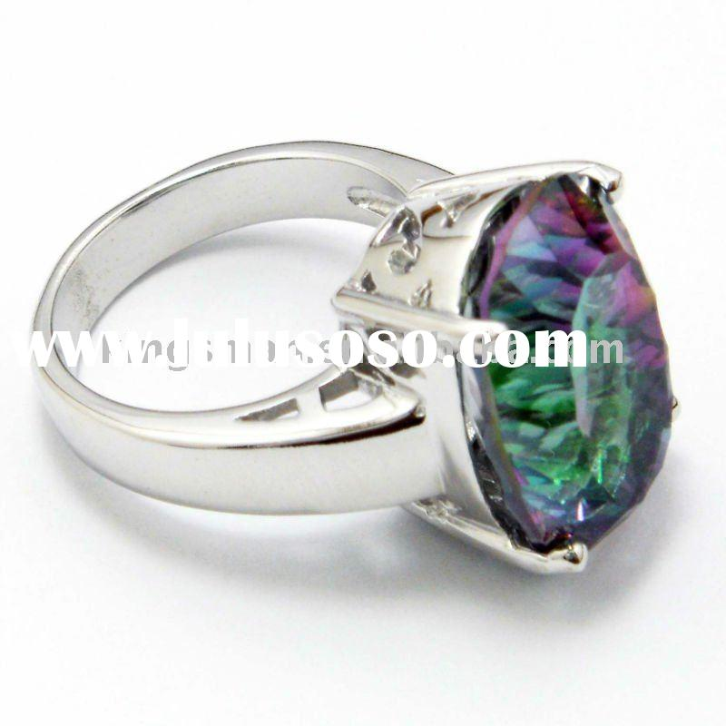 Mystic topaz jewelry rings; mystic natural crystal jewelry;