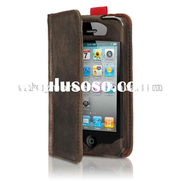 New Genuine leather pouch wallet design fashion leather case for iphone 4g 4s