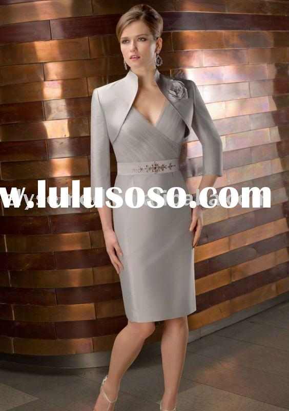 New In Trend Sheath Knee Length Silver Satin Mother of the Bride Outfits