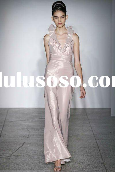 New Spring Design Halter Elastic Satin Alfred Sung Bridesmaid Dresses