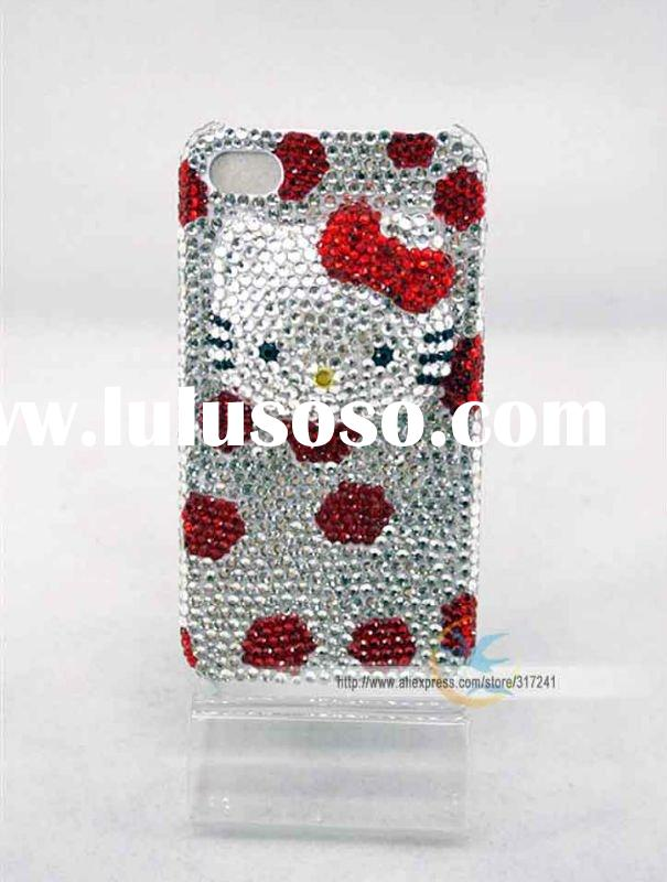 New arrival Hello Kitty shine bling crystal diamond cubic 3D case cover for iphone 4