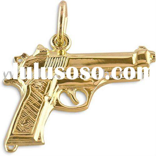 Newest Fashion Gun Shaped Metal Charms,Gold Plated Alloy Necklace Pendant 181810