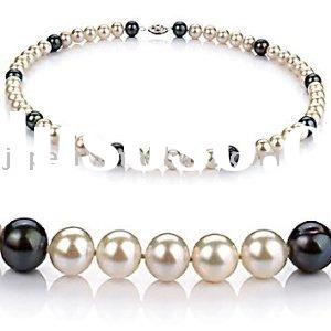 Noble latest design bright round shape freshwater pearl necklace