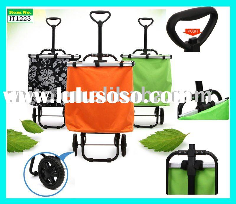 OEM Folding Reusable Supermarket Grocery Laundry Shopping Rolling Tote Trolley Cart Wheeled Basket