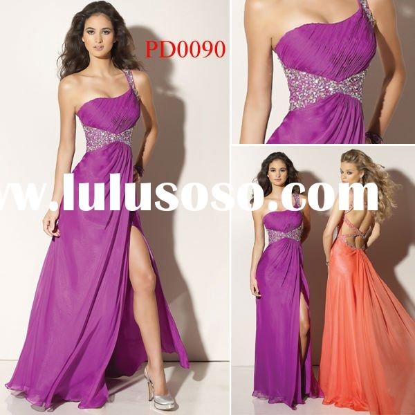 PD0090 Floor-length Side Open Light Purple Chiffon Fast Delivery Prom Dresses