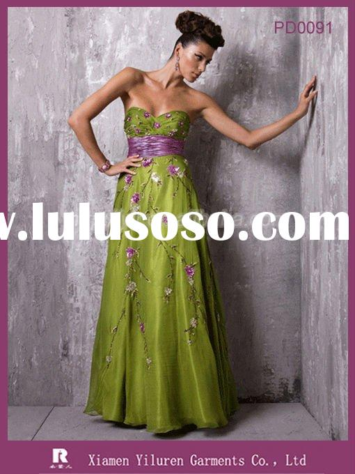 PD0091 - 2010 Newest style Designer Emprie Sweetheart Long Evening Prom Dresses with Embroidery