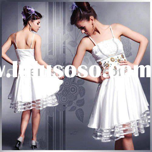 Perfect quality ladies' prom dress short white spaghetti strap backless beading Lace princes