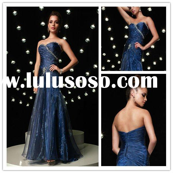 Plus Size 2011 New Strapless Prom Dresses Sheath Tulle Beaded Sweetheart Fold Full Figure Evening Dr
