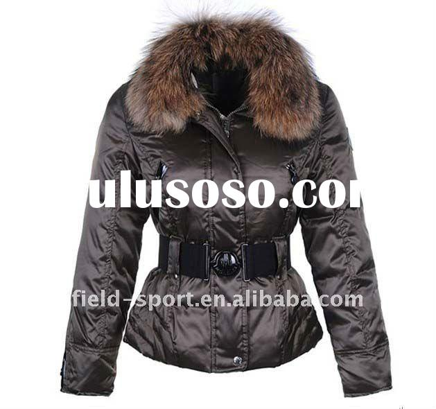 Promotion!!! fashion winter clothing with fur hood down filled ladies' long down feather jac