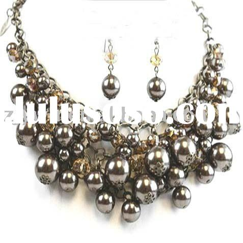 RICH BROWN PEARL CRYSTAL NECKLACE SET COSTUME JEWELRY