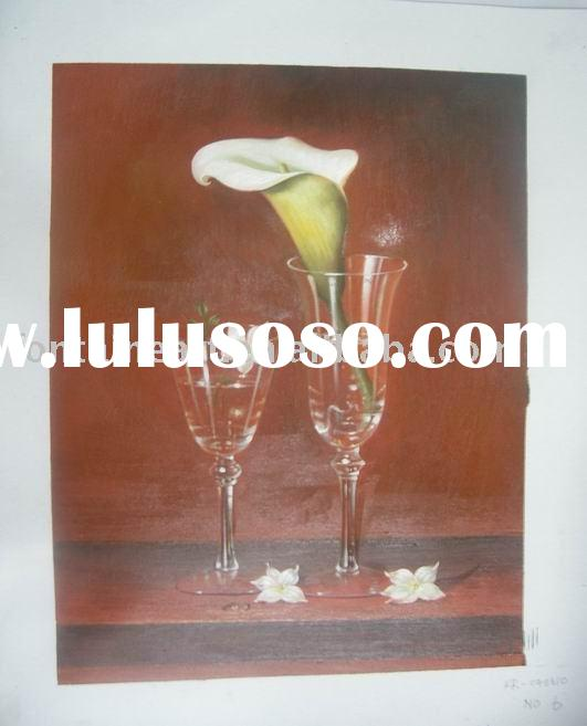 Realist still life oil painting on canvas with glass & flower