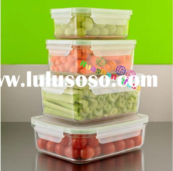 Rectangle Glass Storage Containers, 4pieces container sets with locking lids,fruit and vegetable kee