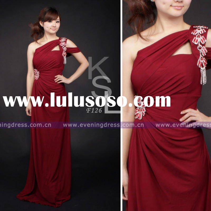 Red Elegant Trimming New Fashion Mature Long Dresses Evening 2012