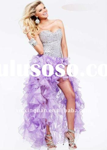 SHG720 Fashion 2012 sweetheart sequins and crystal beaded front short back long ruffle skirt purple