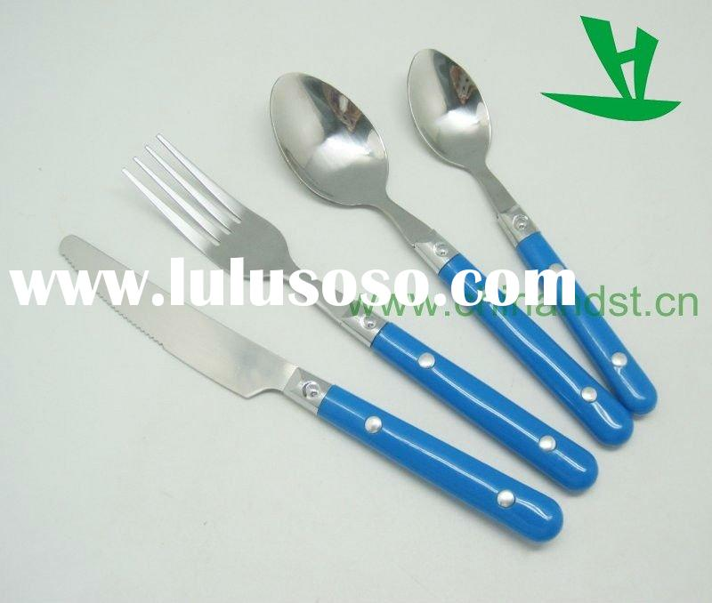 Stainless Steel Flatware Set With Plastic Handle