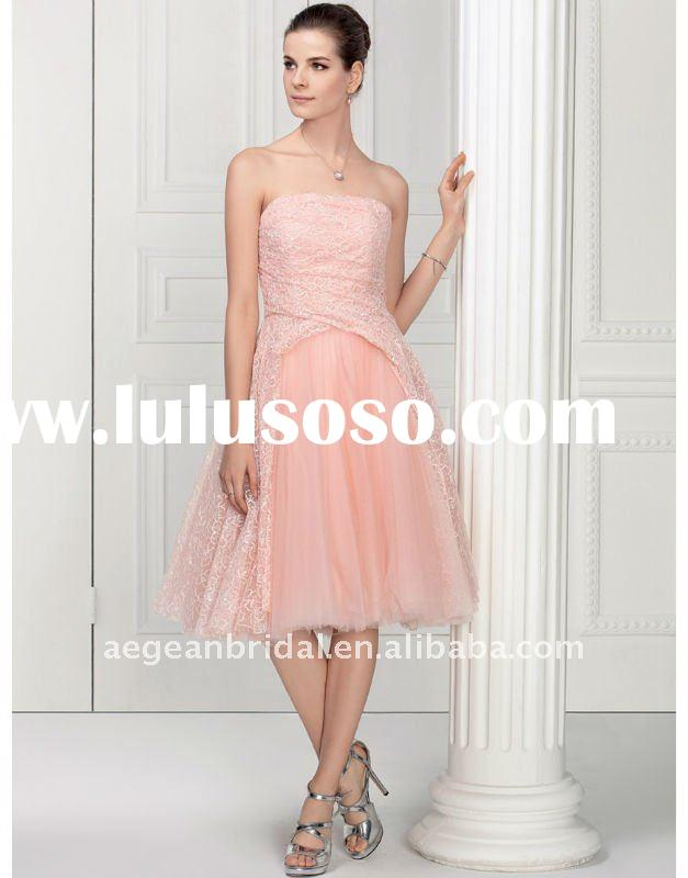Style RZ-wd1431 designer strapless knee length short light pink tulle wedding dress