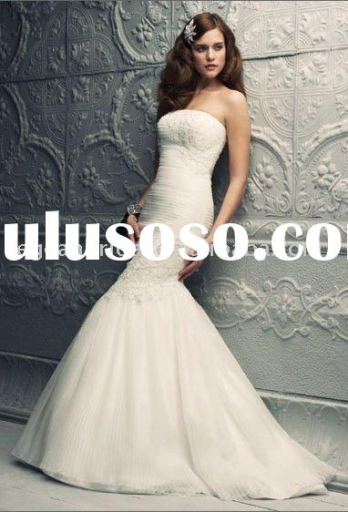 Style RZ-wd267 strapless appliqued mermaid light pink tulle wedding dress