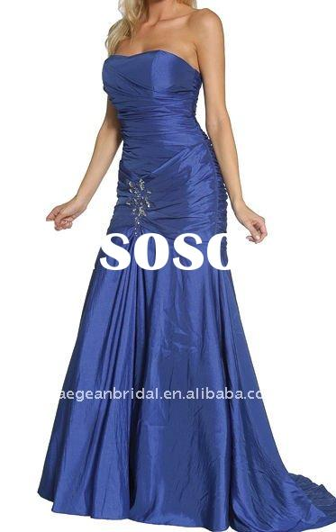 Style XZ-md1303 Cheap strapless pleated blue taffeta royal blue mother of the bride dresses