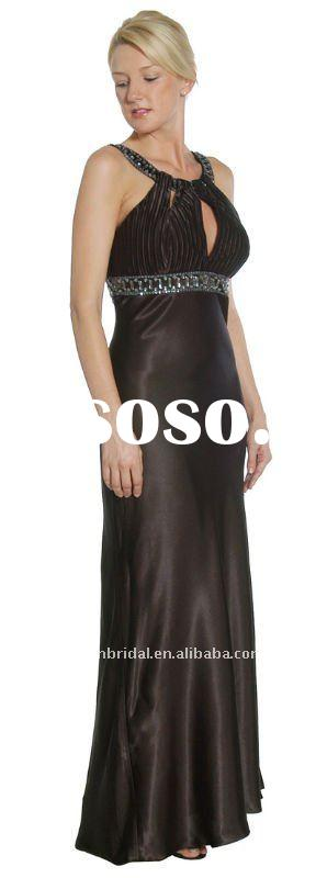 Style XZ-md1322 2012 Cheap elegant halter low keyhole neckline brown satin mother of the bride dress