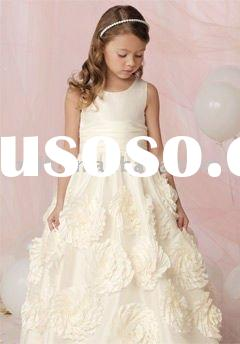 Sweet appliqued satin flower girl dress kids gowns childern skirts for wedding and special occasions