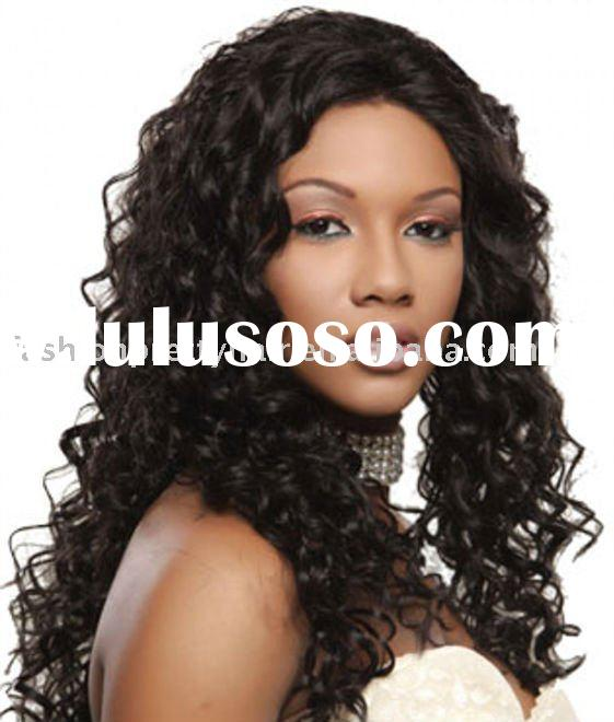 Top fashion curly brazilian hair full lace wigs for black women