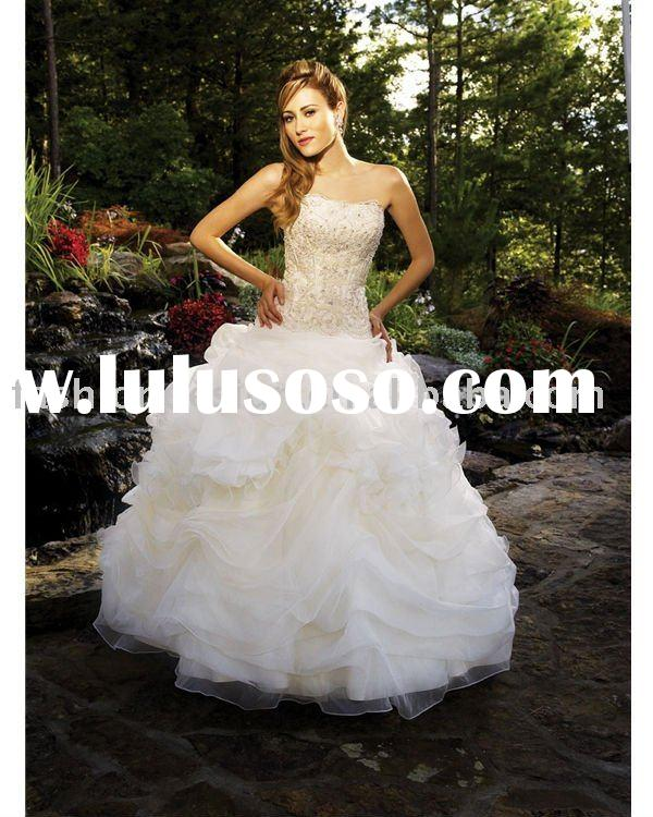 VH1235 strapless embroidery crystal ball gown organza wedding dress