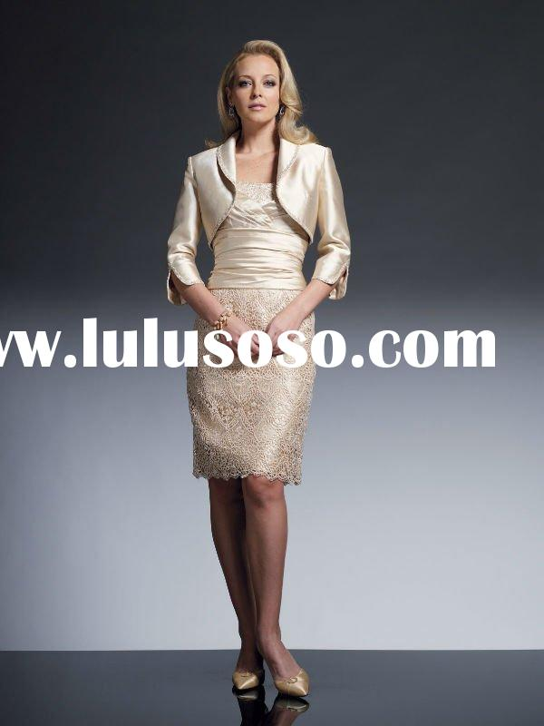 VO 249 Hot selling strapless appliques skirt with jacket custom made satin suit mother of bride dres