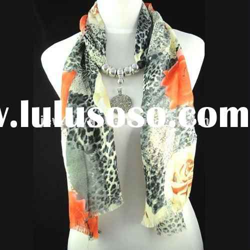 WHOLESALE &Free shipping, fashion knit loop scarf ,jewel beads pendant scarf necklace ,fashion l