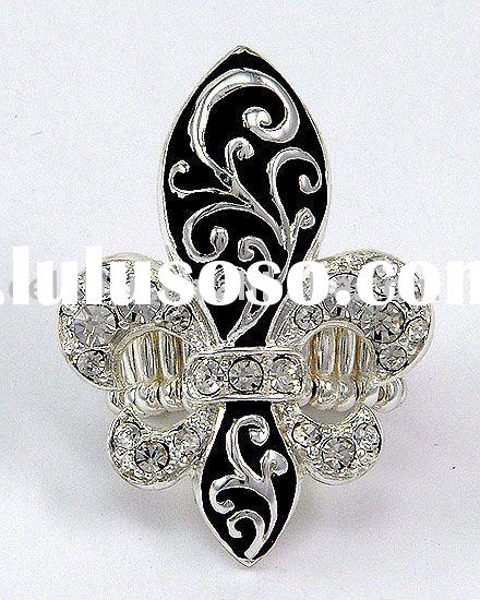 WLR-2306-Antique Silver Tone Clear Rhinestones Fleur De Lis & Filigree Stretch Ring
