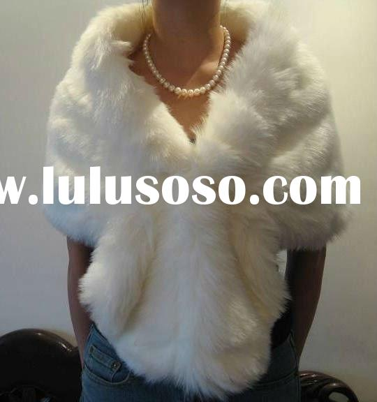 White faux fur bridal wrap belero wedding jacket DC-A001