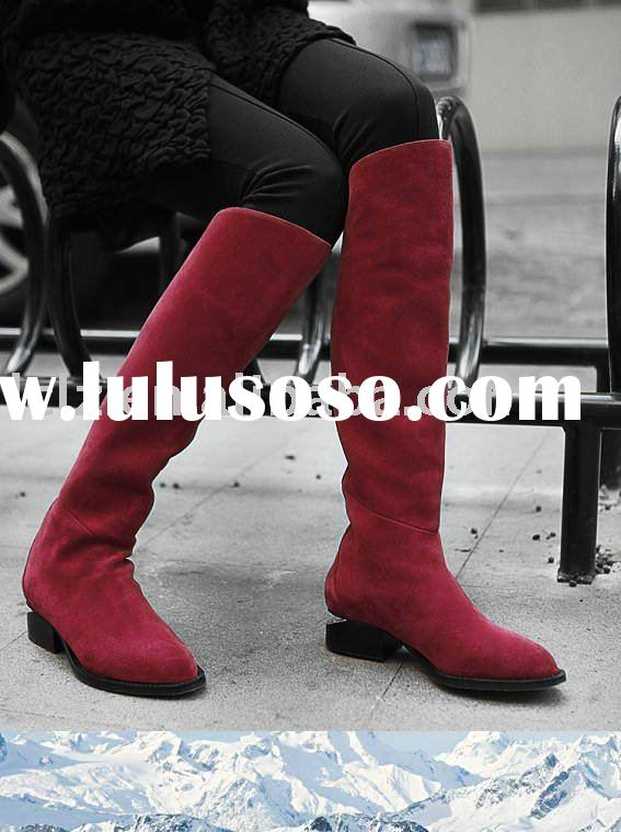 Wholesale price genuine leather knee high women flat Boots A025 heel 3cm