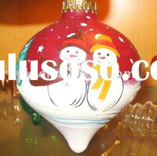 Xmas glass ball ornament decoration hand painted snowman