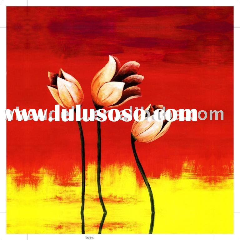 abstract stretched flower canvas oil painting
