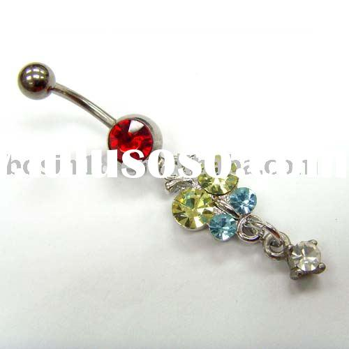 belly ring/cubic zirconium belly ring/body piercing jewelry