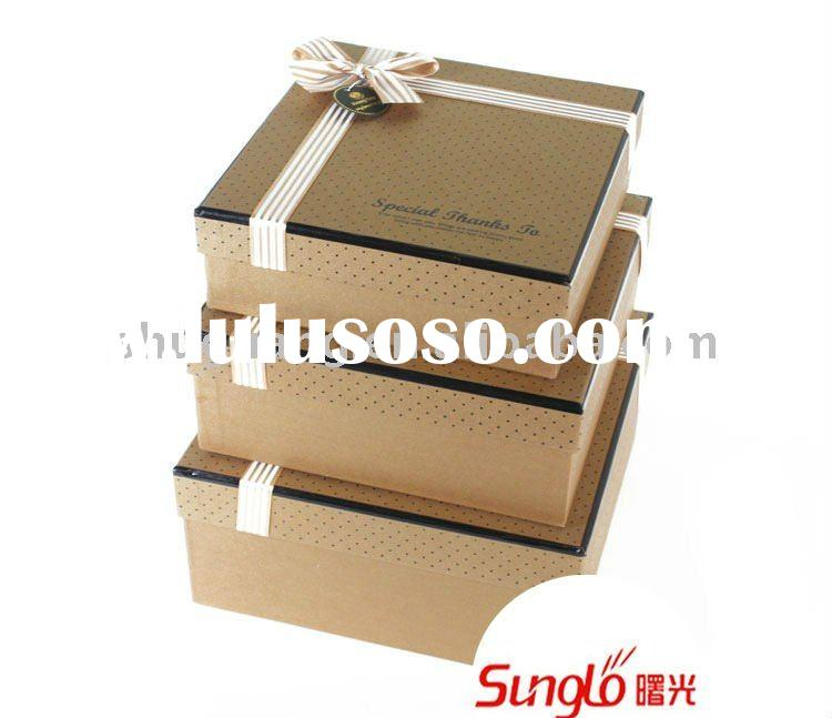 brown kraft paper cardboard gift box set with ribbon tie