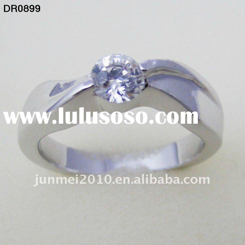 concise design platinum plated ring with round white zircon