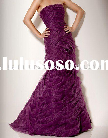 custom made popular design strapless purple mermaid evening dresses