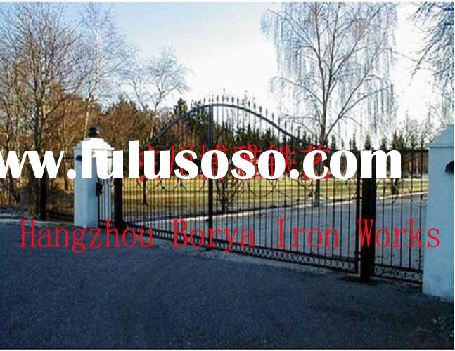 electric outdoor custom forged wrought iron swing gate