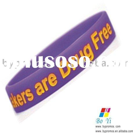 embossed and color filled silicone bracelet