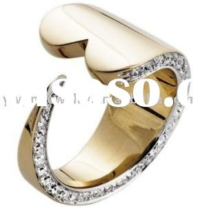 fashion famous brand special design heart gold crystal ring